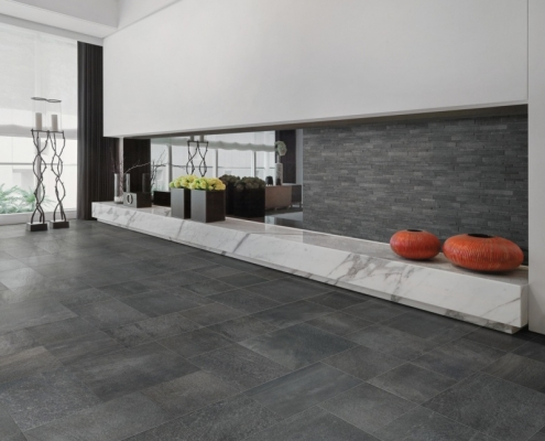donkere betonlook vloertegels